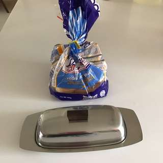 Antique Stainless Steel Butter Dish