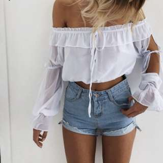 Chiffon off shoulder Ruffle Blouse