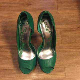Green Peep Toe Pumps