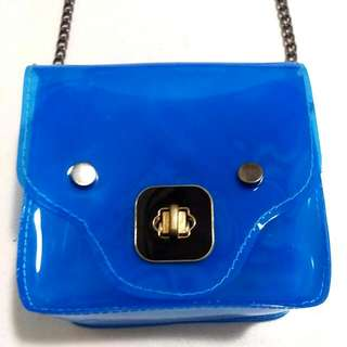 Neon Clear Sling Bag - Blue