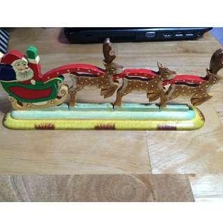 聖誕節慶擺飾-聖誕老人+ 麋鹿雪橇  #家飾出清