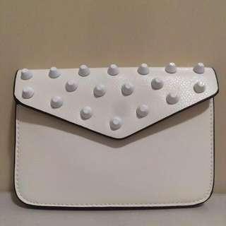 Studded Mini Sling Bag - White