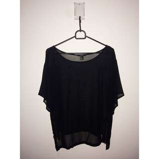 F21 Black Top With Side Zipper