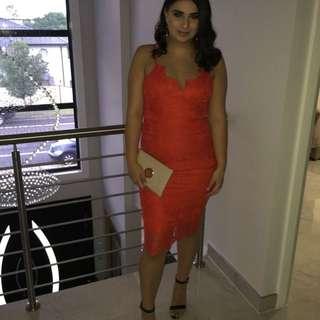 THEICONIC spicy orange lace midi dress