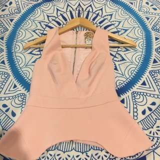 Pink Peplum Low Cut Top Size 6