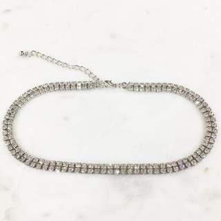 Silver Glitter Sparkle Diamanté Rhinestone Choker