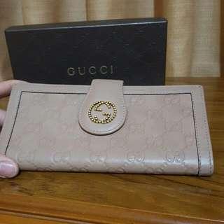Gucci 裸色 長夾 全皮