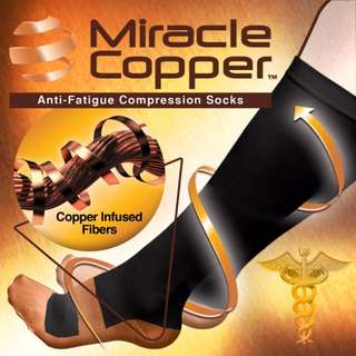 Miracle Copper As Seen on TV Copper-Infused Anti Fatigue Compression Sock ~BOXED