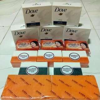 Dove White Beauty Bar, Beauche Soap, Gluta Soap, Kojiesan Soap