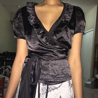 Black Satin Wraparound Shirt