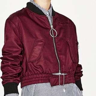 Looking For Zara Crop Burgundy Bomber Jacket
