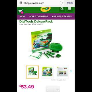 Crayola DigiTools Deluxe Pack (3-in-1 Digital Effects Toolkit for iPad) *iPad not included* #Digital Crayon, Digital Airbrush, Digital 3-D Stylus, Digital Stamper, 3-D Glasses#