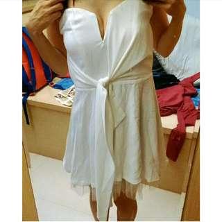 狂降✨白色V領口洋裝/禮服/表演服/伴娘/主持/Party