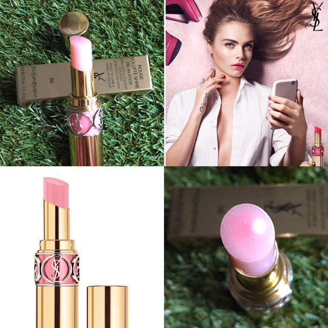 ee250a5a560 $271 ysl rouge volupte shine (oil-in-stick) 56 pink in silver 超淡色閃粉唇膏超潤,  Health & Beauty, Makeup on Carousell
