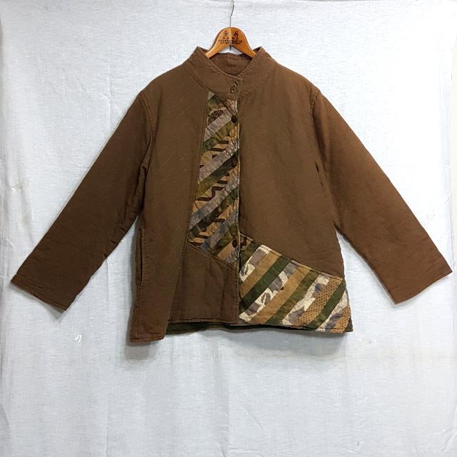 【超狂小阿姨】文青風棕色圖騰厚棉外套 #運費我來出