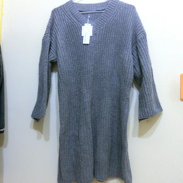 灰色針織長版衣