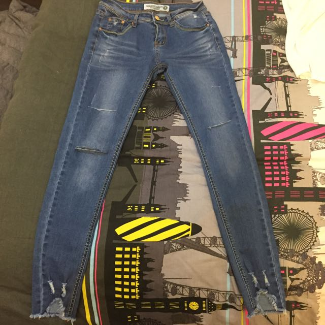 韓系窄管牛仔褲