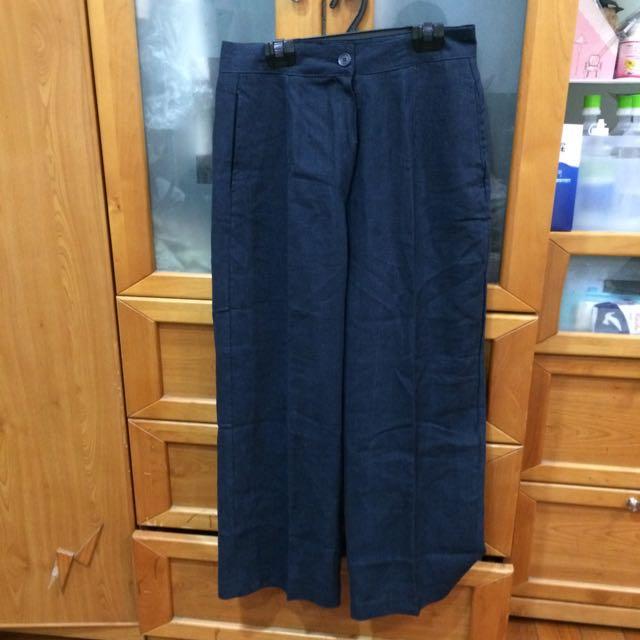 全新✨深藍色亞麻材質西裝寬褲