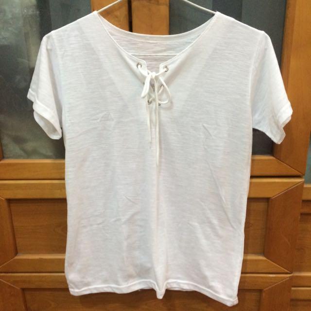 全新✨竹節棉白色上衣