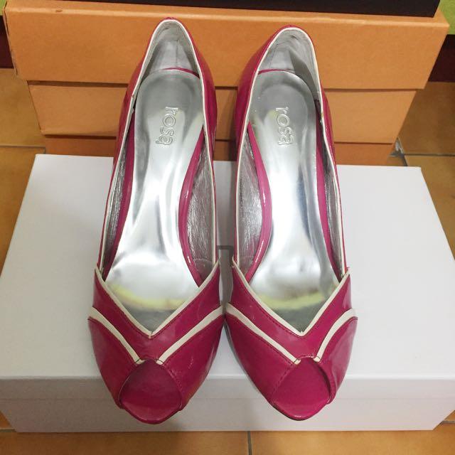 韓版 桃紅漆皮透視跟鞋