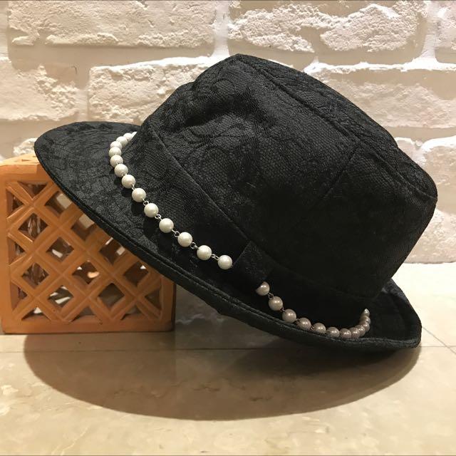 珍珠蕾絲 英倫帽子 黑色