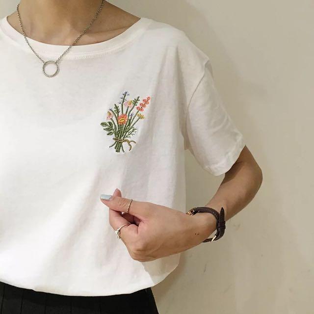 春裝 日系 刺繡 短袖圓領T恤
