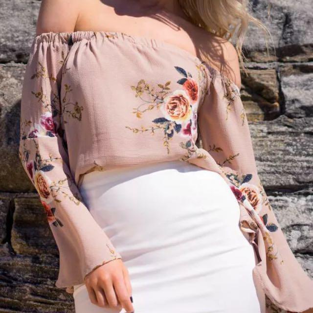 🎀 Harper And Bloom Off Shoulder Floral Beige Belle Sleeve Top Size S