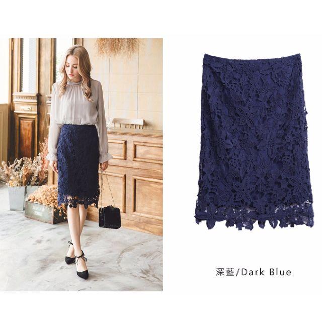 **轉賣** YOCO東京著衣 鏤空花朵蕾絲短裙(深藍)