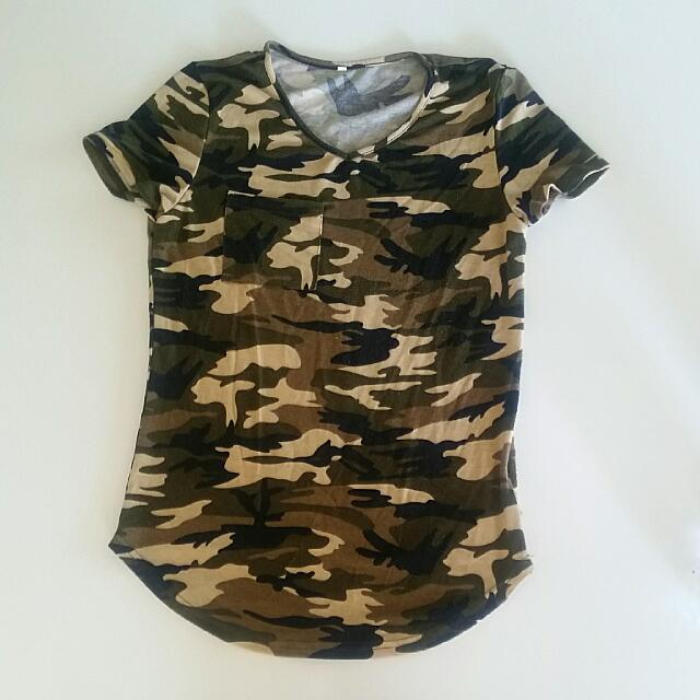 Army Printed Shirt Top 6 XS