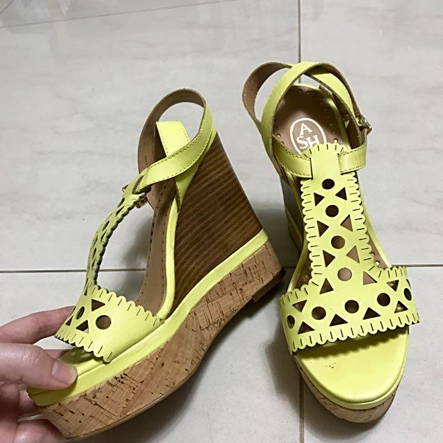 ASH芥茉高高雅氣質楔形鞋高跟鞋涼鞋綁帶鞋