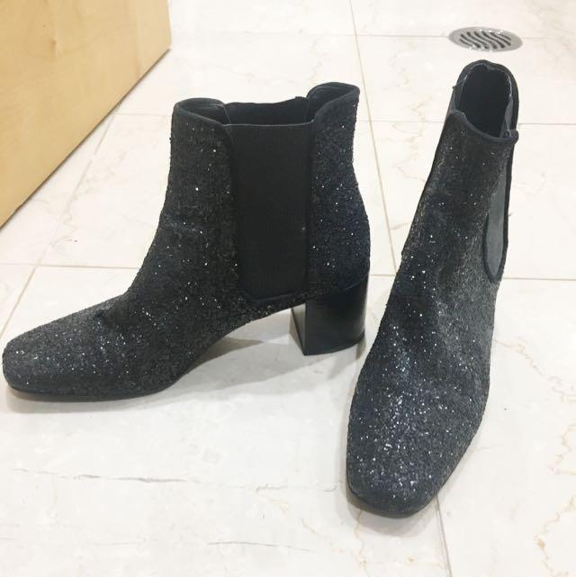 Black Glitter Zara Boots