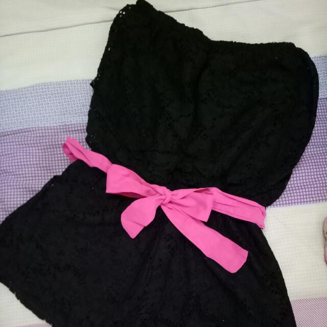 black ribbon pink romper