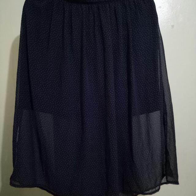 Blue See Through Polka Skirt