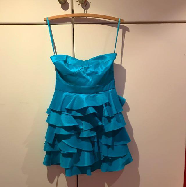 Blue Strapless Ruffle Dress Size S