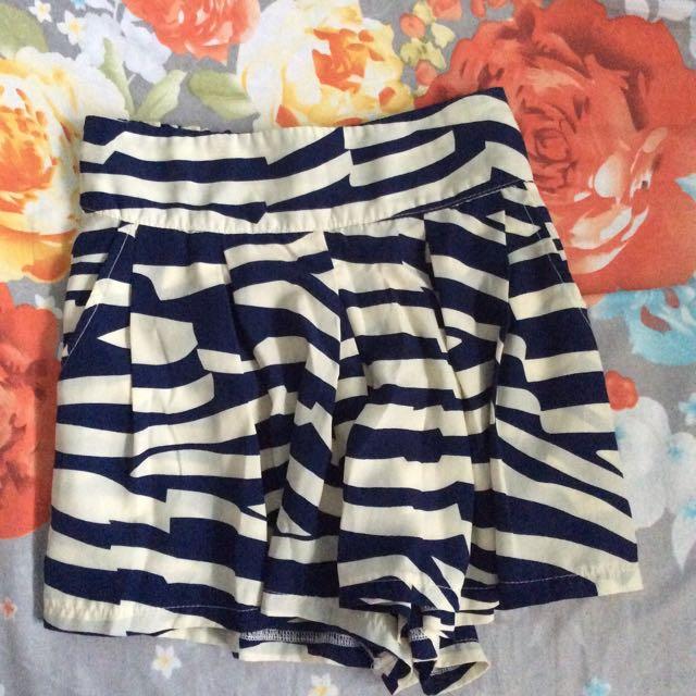 Blue Striped Skort (shorts And Skirt)
