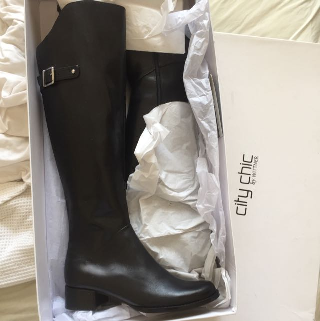 BNWT City Chic Black Leather Boots