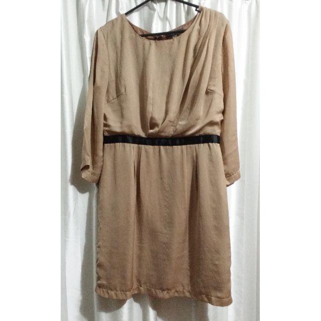 Brown Pleated Satin Sheath Dress - Size 12