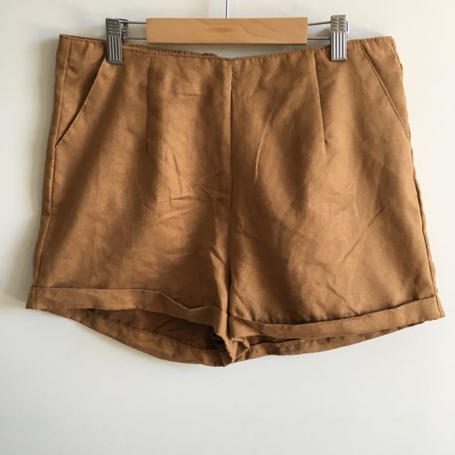 Suede Camel Shorts Size 12 COTTON ON
