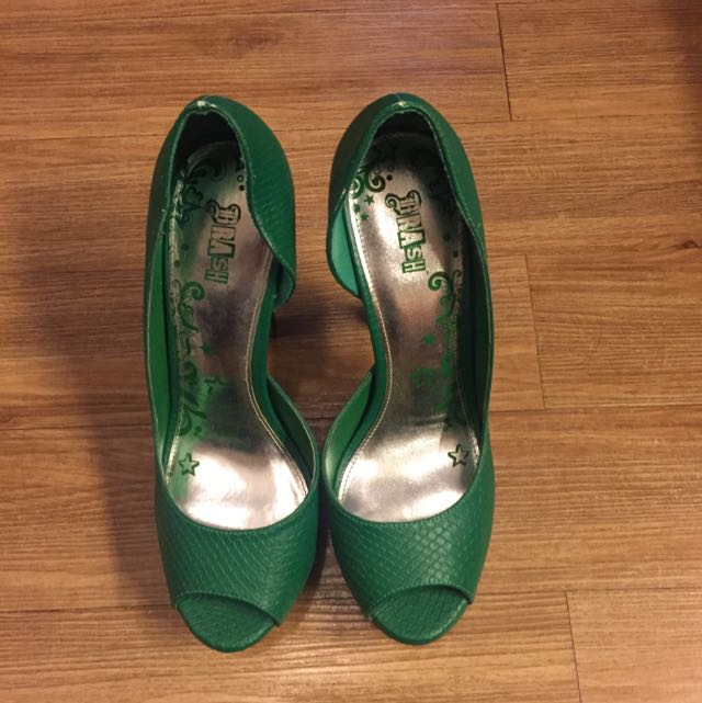 Green Peep Toe Pumps