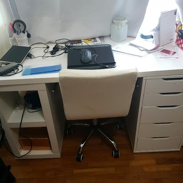 Ikea Desk Set Tabletop Plus 2 Side Storage Legs