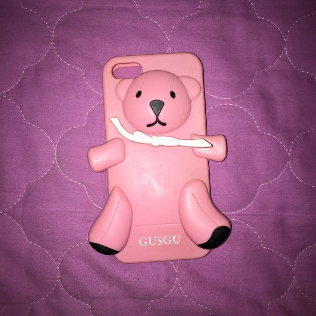 Iphone 5/5s/SE Pink Gusgu Bear Case