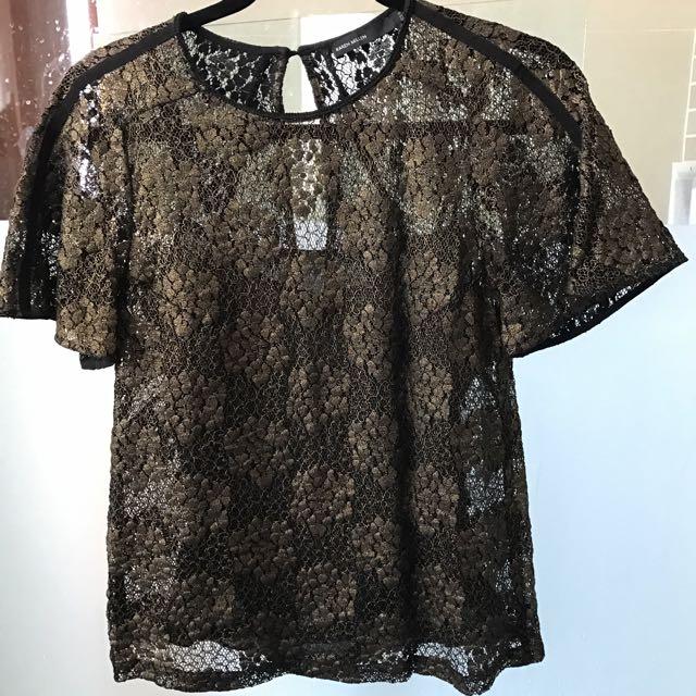 Karen Millen Metallic Lace Top.