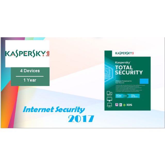Antivirus Kaspersky Total Security/Pure 2017 4 PC 1 Year