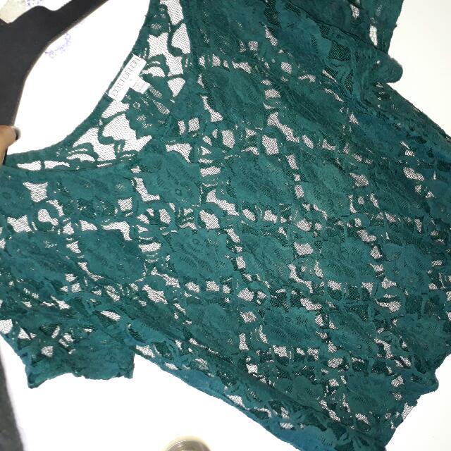 Lace Dark Green Top