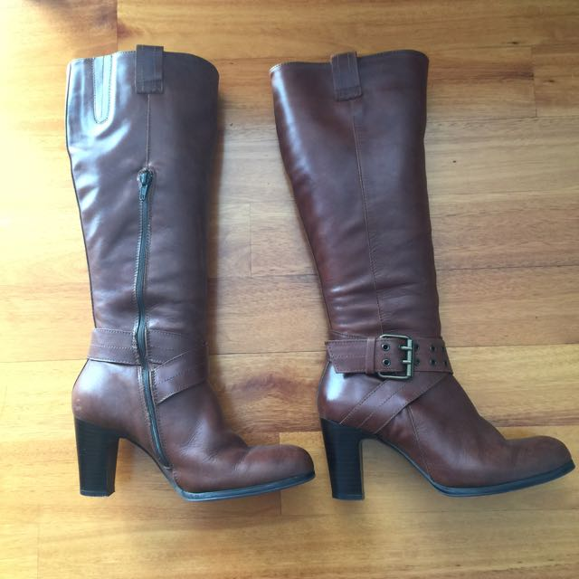Ladies Long Leather Boots, Tan Brown