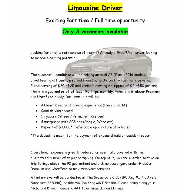 Limousine driver, Jobs, Transport & Delivery on Carousell