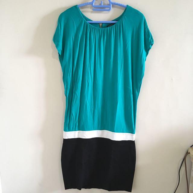 Mango Green&Black Dress