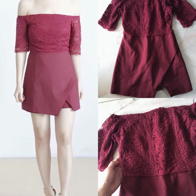 MAROON LACE OFF SHOULDER ROMPER