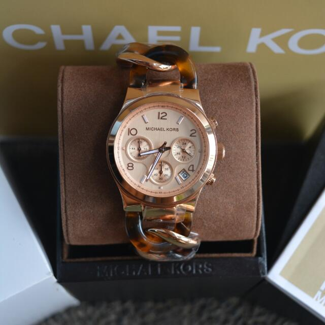 Michael Kors Twisted Chain Rosegold And Tortoise Ladies Watch (MK4269)
