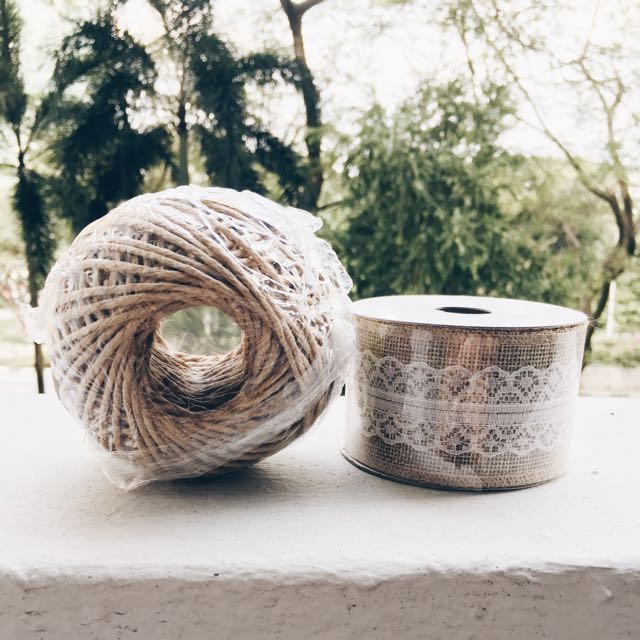 *MOVING OUT SALE*  Burlap Lace Ribbon And Twine